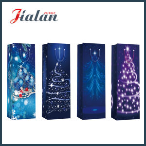 128GSM Glossy Laminated Coated Paper Christmas Bottle Gift Paper Bag pictures & photos
