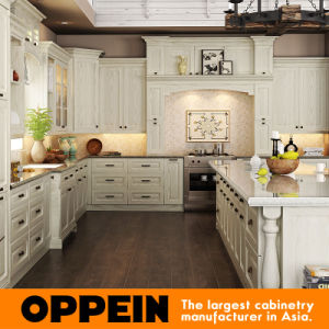 china white l shape wood kitchen cabinet with island (op15-s05