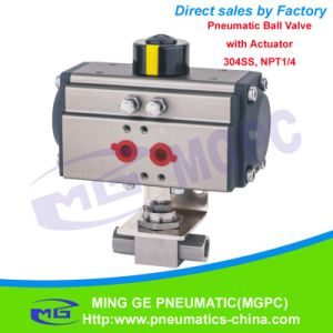 """OEM Stainless Steel Pneumatic Trunnion Ball Valve with Actuator (MG-QDQF-B-NPT1/4""""~NPT2"""") pictures & photos"""