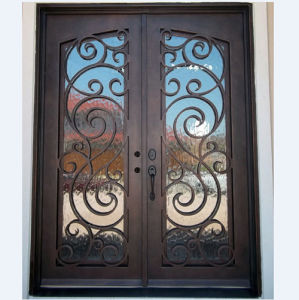 High Quality Square Top Wrought Iron Entrance Door (UID-D050) pictures & photos