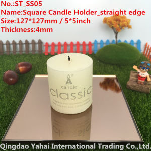4mm Dark Brown Straight Edge Glass Mirror Candle Holder pictures & photos