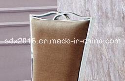 European Style Stainless Steel Fabric Dining Chair for Home Furniture pictures & photos