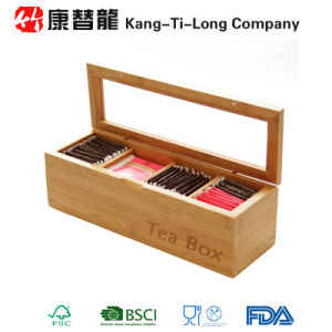 Bamboo Caddy Storage Organiser Container Tea Box