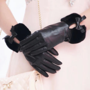 Lady Fashion Faux Fur Cuff Sheepskin Leather Dress Gloves (YKY5209-2) pictures & photos