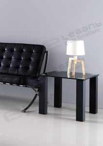 55X55 Square Glass Table with Black Iron Support pictures & photos