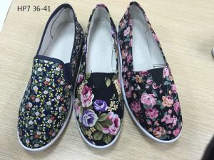 Latest Cheap Fashion Lady Casual Shoes Injection Sports Printing Canvas Shoes (HP7) pictures & photos