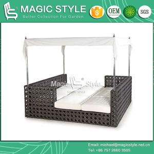 Rattan Daybed Wicker Sun Bed Outdoor Furniture Garden Sun Lounge Leisure Daybed Beach Sunbed Patio Daybed Deck Lounge (Magic Style) pictures & photos