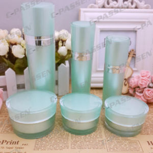 New Cosmetic Packaging Green Acrylic Cream Jar Lotion Bottle (PPC-CPS-065) pictures & photos