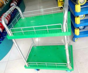 Green Color 300kg Double Layers Plastic Hand Trolley pictures & photos