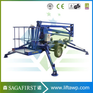 10m 12m Aerial Trailing Towable Boom Lift for Sale pictures & photos