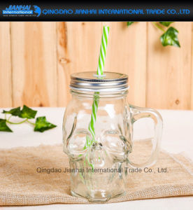 500ml Clear Glass Beverage, Cocktail Skull Shape Mason Jar pictures & photos