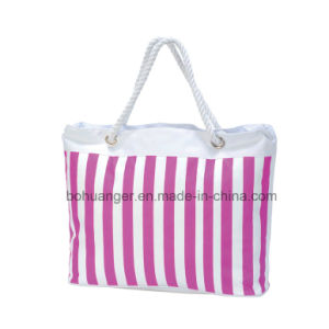 Beautiful Tote Cotton Bag with Zipper Closure Open