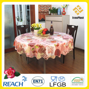 PVC /PEVA Printed Table Cloth with Nonwoven LFGB Oko-Tex 100 (TJ0425) pictures & photos