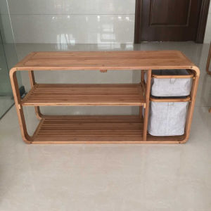 Recycle Bamboo Storage Footstool with Cloth Drawer pictures & photos