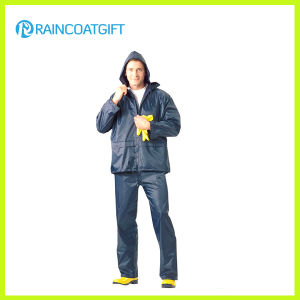 Men′s Polyester PVC Raincoat with Pants (RPY-063) pictures & photos