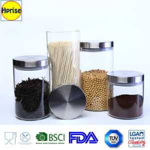 Wholesale Borosilicate Glass Canister with Stainless Steel Lid