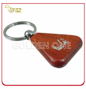 Creative Laser Engraving Logo Triangle Shape Wooden Keyring pictures & photos
