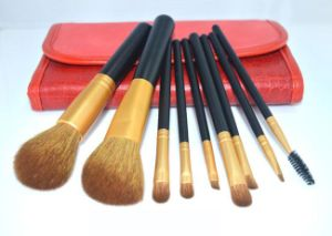 9 Pieces Luxury Classic Professional Gold Weasel Tail Hair Makeup Brush pictures & photos