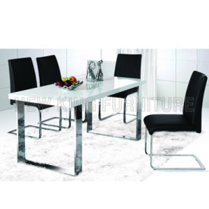 Modern Cheap White High Gloss Wooden Table Top Stainless Steel Foot Dining Table (NK-DT065) pictures & photos