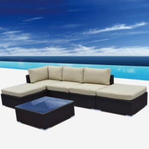 All Weather PE Resin Wicker Design Sofa Set with Coffee Table
