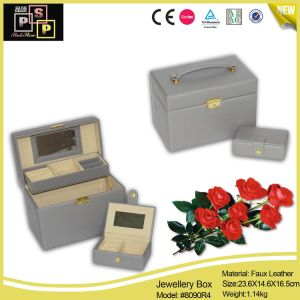 Wholesale Products Faux Leather Mirror Double Jewelry Chest (8090) pictures & photos