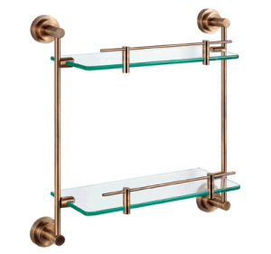 Fancy Antique Design Stainless Steel Double Glass Shelf