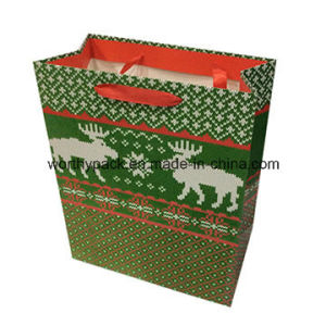 Glossy Laminated Christmas Paper Gift Bag for Shopping and Packaging