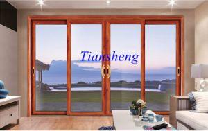 Aluminum Residential Interior Double Glass Sliding Entrance Door pictures & photos