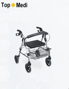 Topmedi Medical Equipment Foldable Aluminum Rollator with Brake pictures & photos