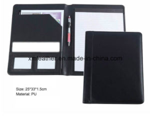 Non Zip A4 Imitation Leather Pocket Folder with Notepad pictures & photos