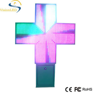Outdoor LED Display Green/Blue/Full Color LED Pharmacy Cross Display/Sign with CE