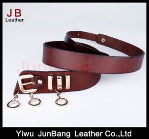 Fashion Three Ring Buckle Leather Belt