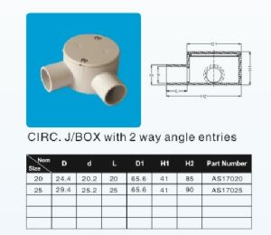 Junction Box Right Angle Shallow 20mm 25mm 2way pictures & photos