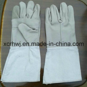 Kevlar Stitching Leather Working Gloves with Canvas Cuff, Unlined MIG TIG Working Gloves, Good Quality Cow Grain Leather Welder Working Gloves Supplier