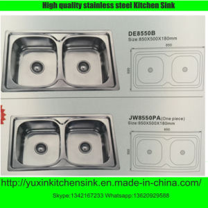 Fashionable Ss201 Stainless Steel Double Bowl Kitchen Sink (DE8550B)
