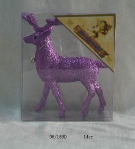 Purple Glitter Christmas Deer Hanging Decoration
