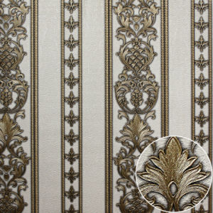 PVC Deep Embossed Stripe Wallpaper for Hotel pictures & photos