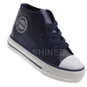 Boy′s PU Fashion High Top Vulcanized Shoes pictures & photos