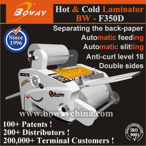Office Equipment 350mm Automatic Feeding Auto Slitting Roll Pouch Film Hot Cold Photo Paper Laminating Machine pictures & photos
