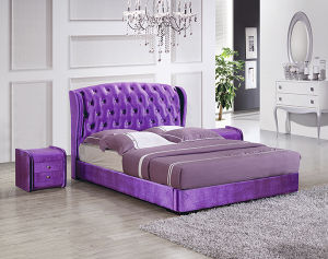 Factory Luxury Leather Chesterfeild Double Bed for Bedroom Furniture