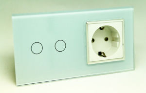 Double EU Switch Socket with 2-Gang Touch Switch And16A Power Socket