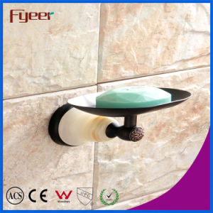 Fyeer Ceramic Base Black Bathroom Accessory Brass Soap Dish Holder pictures & photos
