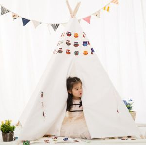 260GSM 100% Cotton Owl Teepee Kids Playing Tent (MW6019) pictures & photos