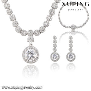 S-55 Fashion Luxury CZ Diamond Rhodium Alloy Copper Imitation Jewelry Set for Wedding Party pictures & photos