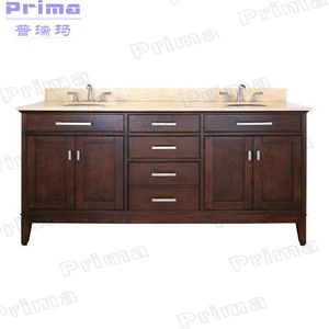 Furniture Manufacturer Solid Wood Double Basins Vanity Bathroom Cabinet pictures & photos