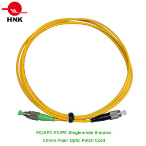 FC/APC-FC/PC Singlemode Simplex 3.0mm Fiber Optic Patch Cord pictures & photos