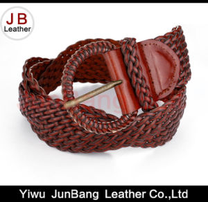 Fashion Ladie′s Bonded Leather Braid Belt with Denim Material pictures & photos