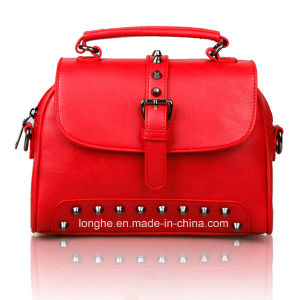 2017 Top Selling Red OEM Lady′s Leather Handbag pictures & photos