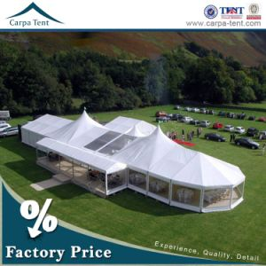 12m Width Party Rainproof PVC Glass Wedding Tent Marquee with High Peak Roof pictures & photos