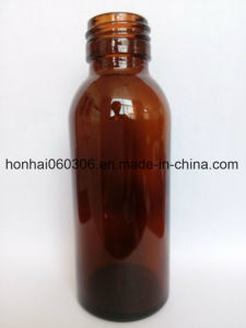100ml Amber Glass Syrup Bottle with Screw Finish 28mm Aluminum Cap pictures & photos